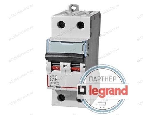 Выключатель автоматический двухполюсный 6А хар-ка C DX3-E 6кА Legrand  (арт. 407274)