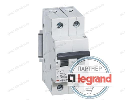 Автоматический выключатель двухполюсный 6А хар-ка С Legrand