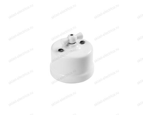 Выключатель поворотный (2-х клавишный) с белой пластиковой ручкой в белом пластиковом корпусе