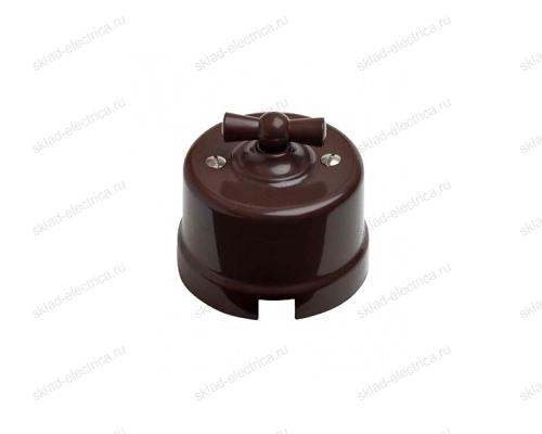 Выключатель поворотный (2-х клавишный) с коричневой керамической ручкой в коричневом керамическом корпусе