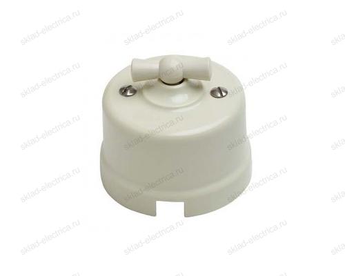Выключатель поворотный (2-х клавишный) в пластиковом корпусе, цвет слоновая кость
