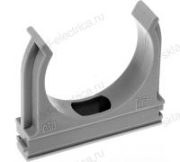Крепеж-клипса для пластиковых труб серая диаметр 32 мм