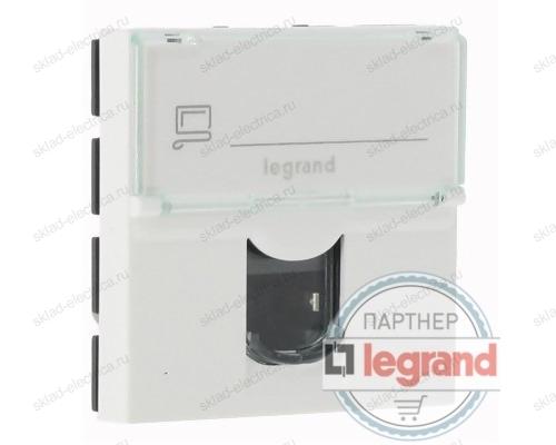 Розетка компьютерная RJ45 2 модуля Legrand Mosaic DLP 076554