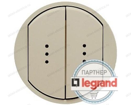 Выключатель двухклавишный с подсветкой Legrand Celiane 10А (слоновая кость) 66211 - 67002 - 67002 - 67684 - 67684 - 80251