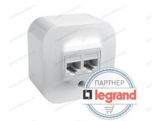 Розетка двойная для компьютерных сетей Legrand Quteo (Белый) 782228
