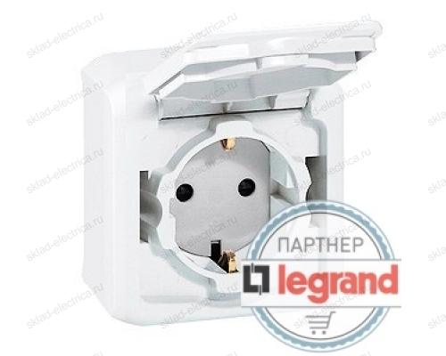 Розетка с заземлением и шторками IP-44 Legrand Quteo (Белый) 782321