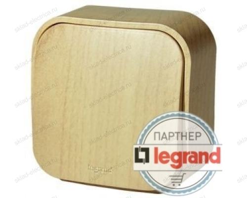Выключатель 1-клавишный 10А Legrand Quteo (Дерево) 782260