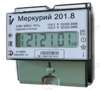 Счетчик электроэнергии Меркурий 201.8 10(80)А однофазный однотарифный ЖК на DIN-рейку