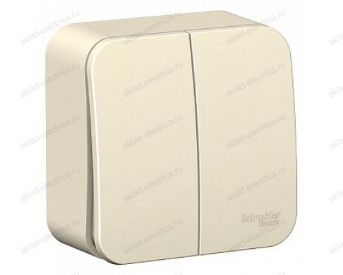 Выключатель 2-клавишный 10А, 250B, Schneider Blanca, с изолирующей пластиной, молочный BLNVA105012