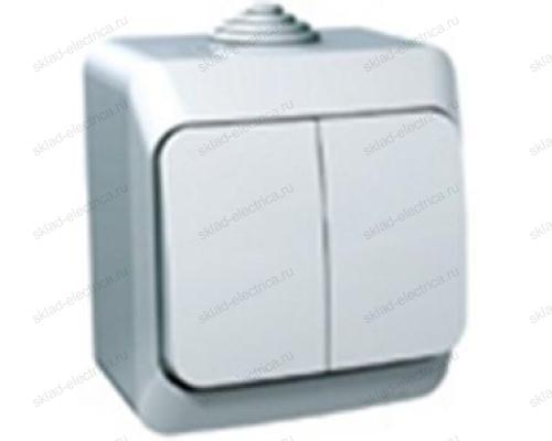 Выключатель двухклавишный IP44 Schneider Electric Этюд белый