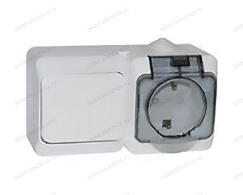 Блок: выключатель одноклавишный + розетка с заземлением IP44 Schneider Electric Этюд белый