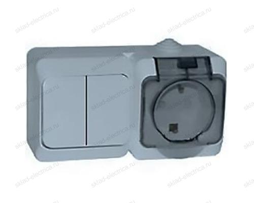 Блок: выключатель двухклавишный + розетка с заземлением IP44 Schneider Electric Этюд серый