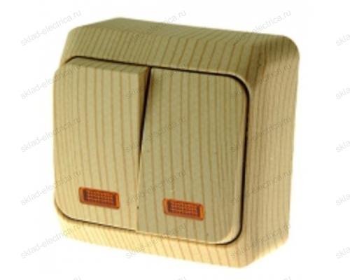Двухклавишный выключатель с подсветкой Этюд Дача (Сосна) BA10-006D