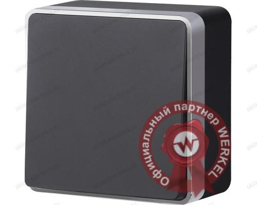 WL15-01-01/ Выключатель одноклавишный Gallant (черный с серебром)