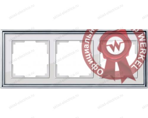 Рамка тройная Werkel Palacio хром-белый a037694