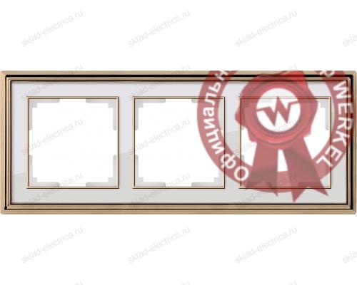 Рамка тройная Werkel Palacio золото-белый a037679
