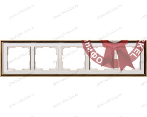 Рамка пятерная Werkel Palacio золото-белый a037681