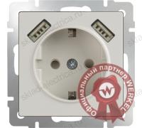 Розетка с заземлением, шторками и USBх2 слоновая кость Werkel W1171503